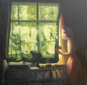 """Encuentra tu propia luz"" Técnica: Óleo sobre lienzo Medidas: 81x81"