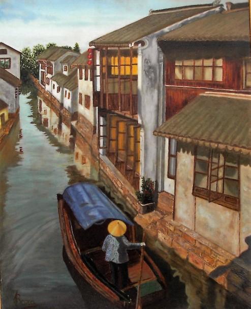 "Título: ""Paseo por el canal de Zhouzhuang"" (China) Técnica: Óleo sobre lienzo Medidas: 61x50"