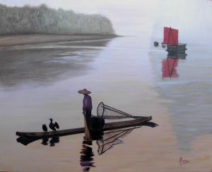"""Pescando con cormoranes"" Técnica: Óleo sobre lienzo Medidas: 100x81"