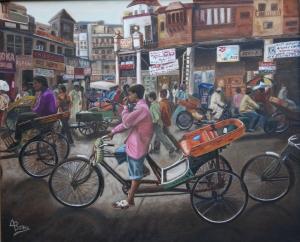 """Rickshaws"" VENDIDO Técnica: Óleo sobre lienzo Medidas: 73x60"