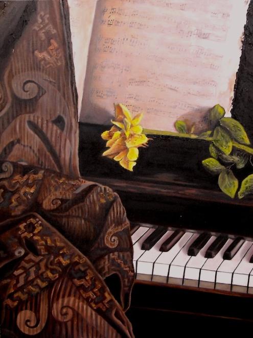 """""""Sinfonía de primavera"""" Técnica: Collage en óleo sobre lienzo Medidas: 80x60"""