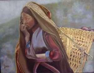 """Sobrevivir en Nepal"" VENDIDO Técnica: Óleo sobre lienzo Medidas: 65x54"