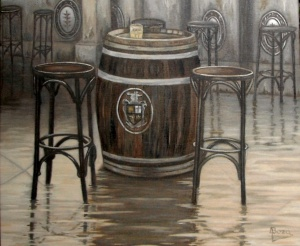 """Terraza con solera"" Técnica: óleo sobre lienzo"" Medidas: 55x46"