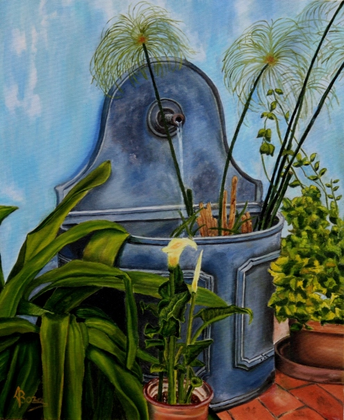 """""""Fuente con plantas"""" Técnica: Óleo sobre lienzo Medidas: 55x46"""