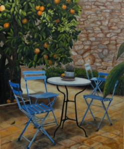 """Jardín con naranjo"" Técnica: óleo sobre lienzo Medidas. 65x54"